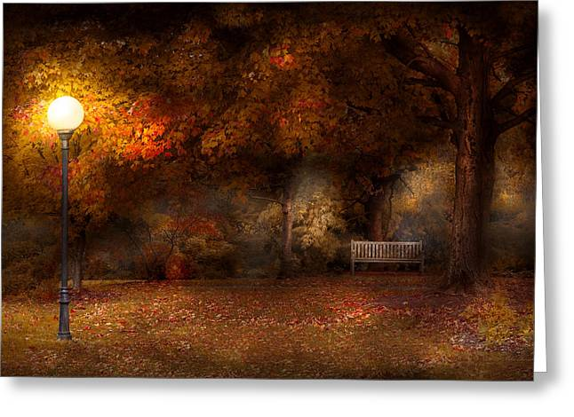 Autumn - A Park Bench Greeting Card by Mike Savad