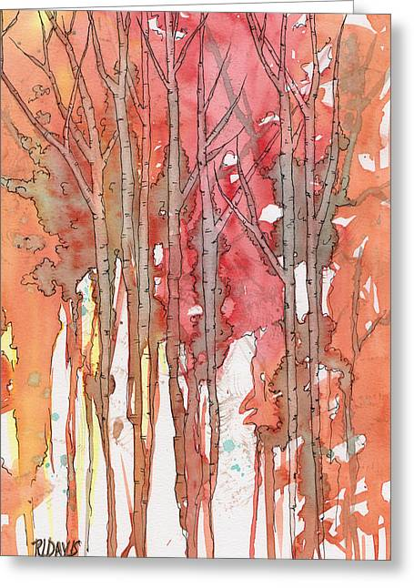 Autumn Abstract No.1 Greeting Card by Rebecca Davis