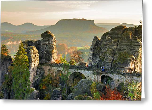 Autumn Afternoon On The Bastei Bridge Greeting Card