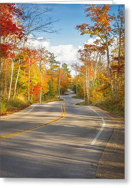 Greeting Card featuring the photograph Autumn Afternoon On The Winding Road by Mark David Zahn Photography