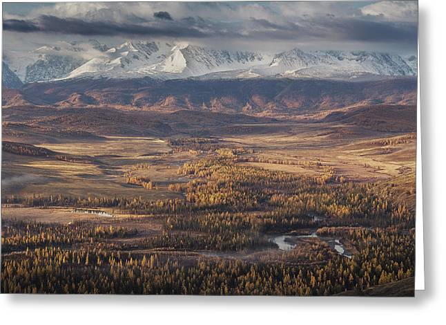 Autumn Altai Mountains Greeting Card by Dmitry Kupratsevich