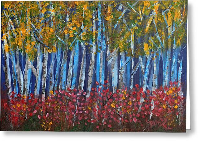 Autumn Aspens Greeting Card by Donna Blackhall