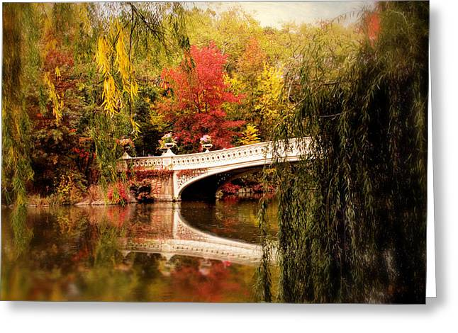 Autumn At Bow Bridge Greeting Card by Jessica Jenney
