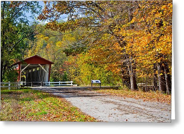 Autumn At Everett Covered Bridge Greeting Card by Claus Siebenhaar