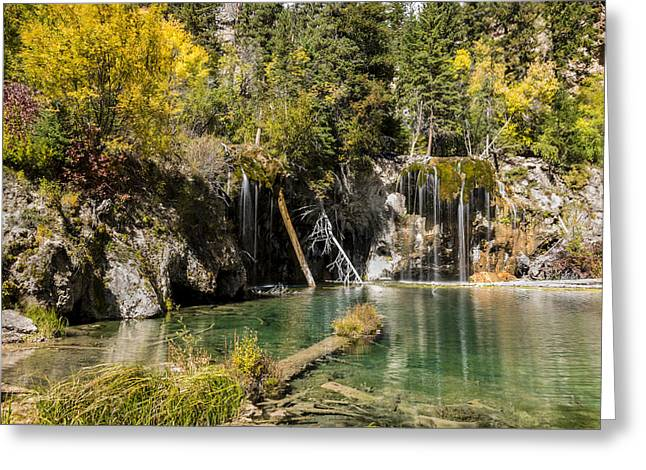 Autumn At Hanging Lake Waterfall - Glenwood Canyon Colorado Greeting Card by Brian Harig