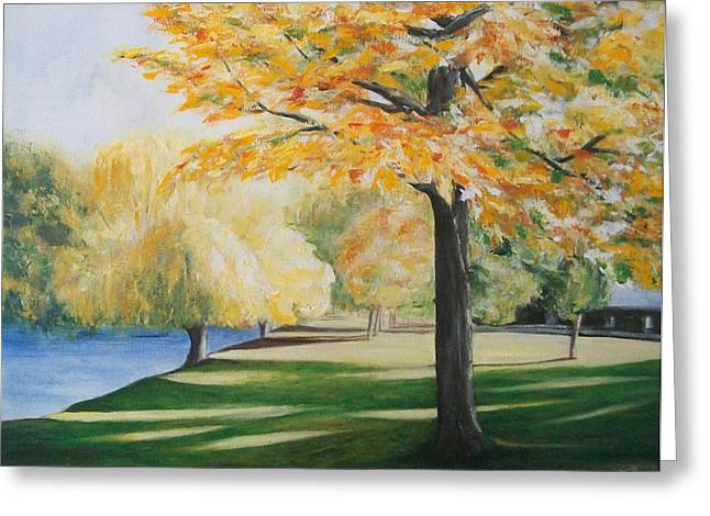 Greeting Card featuring the painting Autumn At Lake Explanade by Jane  See