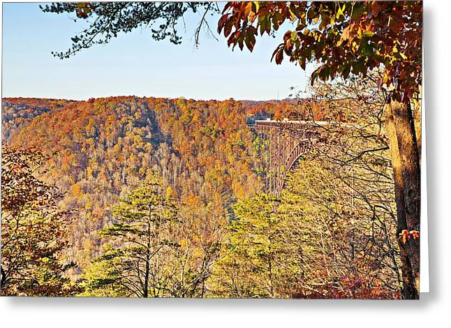 Autumn At The New River Gorge Single-span Arch Bridge Greeting Card