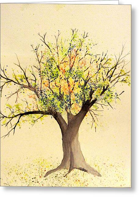 Autumn Backyard Tree Greeting Card