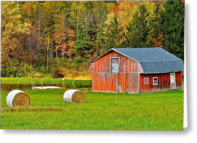 Autumn Barn And Bales Of Hay Greeting Card by Frozen in Time Fine Art Photography