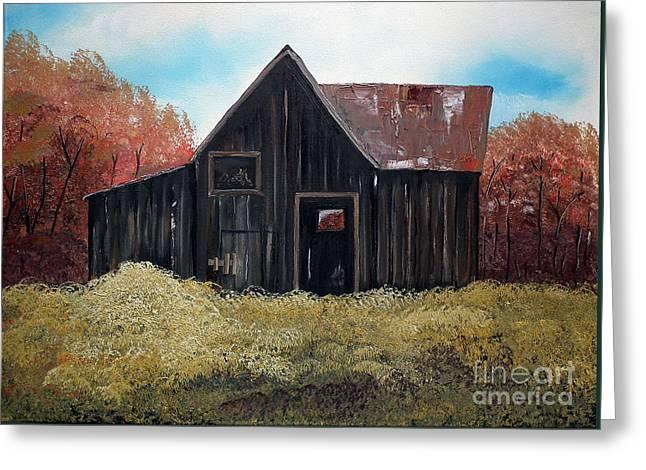 Autumn - Barn -orange Greeting Card