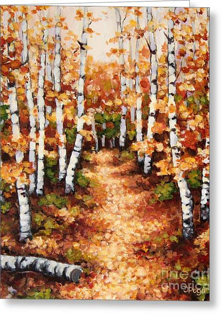 Autumn Birch Trail Greeting Card