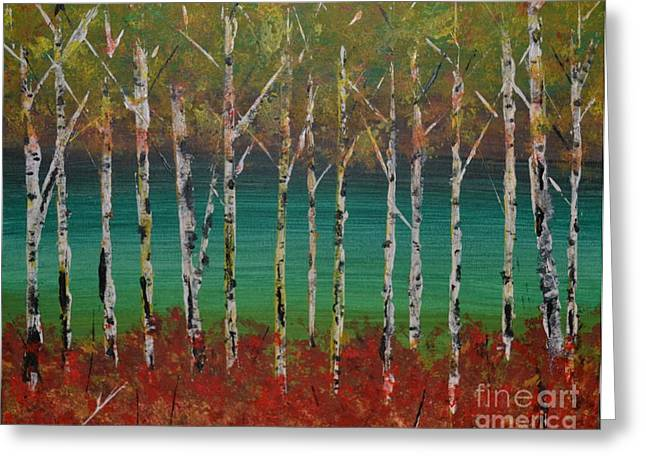 Autumn Birches Greeting Card by Denise Tomasura
