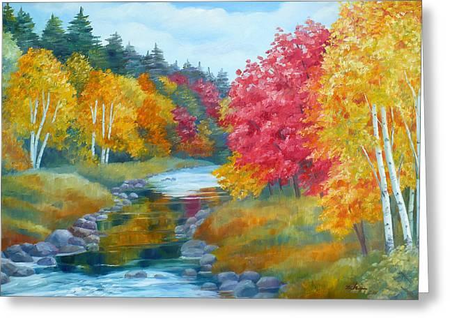 Autumn Blaze With Birch Trees Greeting Card