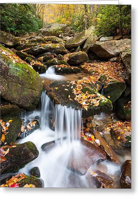 Autumn Blue Ridge Mountain Cascade Greeting Card