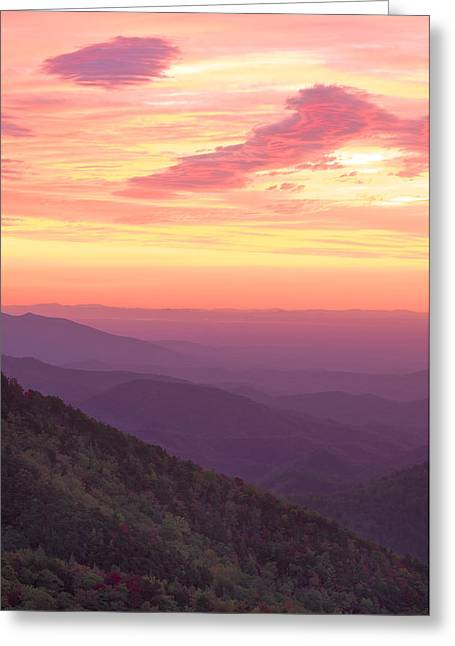 Greeting Card featuring the photograph Autumn Blue Ridge Sunrise by Photography  By Sai