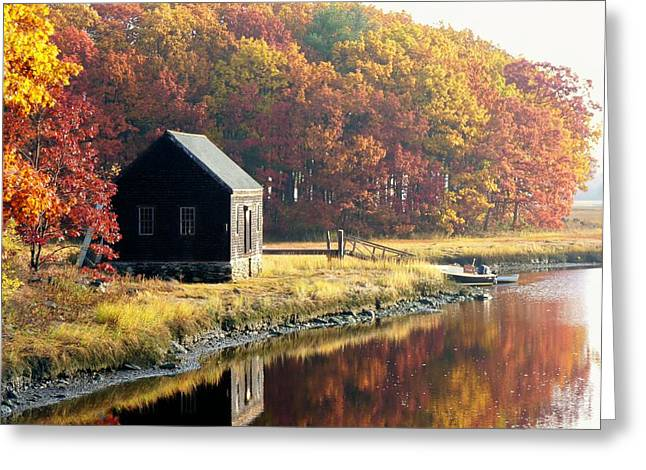 Greeting Card featuring the photograph Autumn Boathouse by Elaine Franklin