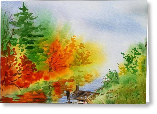 Autumn Burst Of Fall Impressionism Greeting Card by Irina Sztukowski