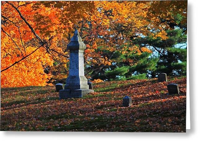 Autumn Cemetery Visit Greeting Card