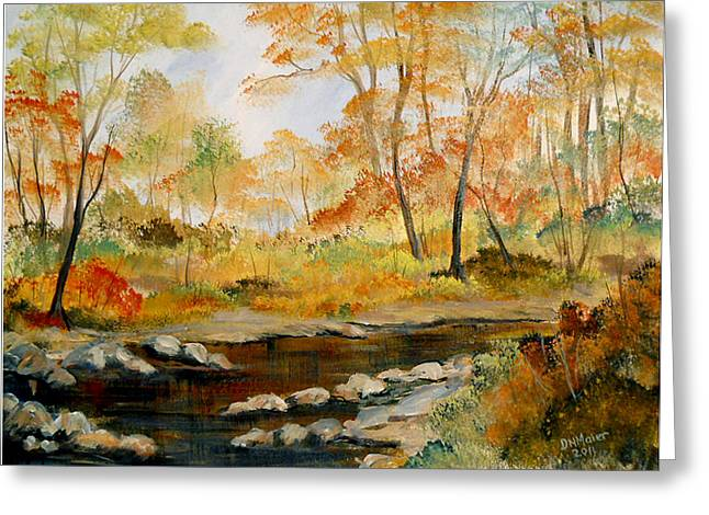 Greeting Card featuring the painting Autumn Colors By The River by Dorothy Maier