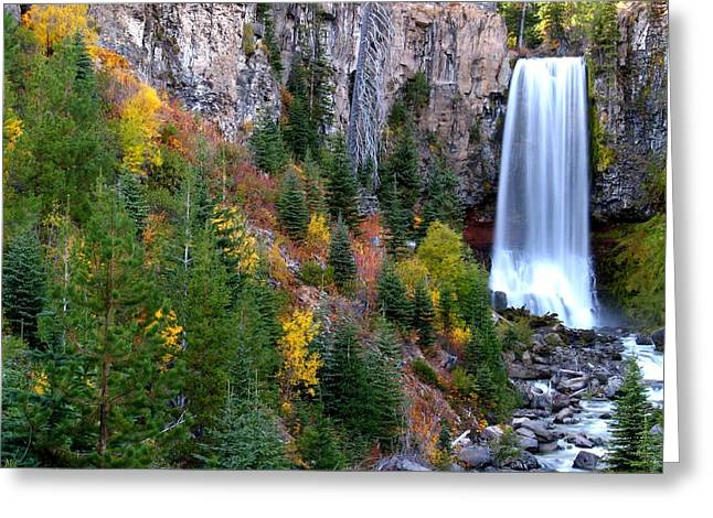 Greeting Card featuring the photograph Autumn Colors Surround Tumalo Falls by Kevin Desrosiers