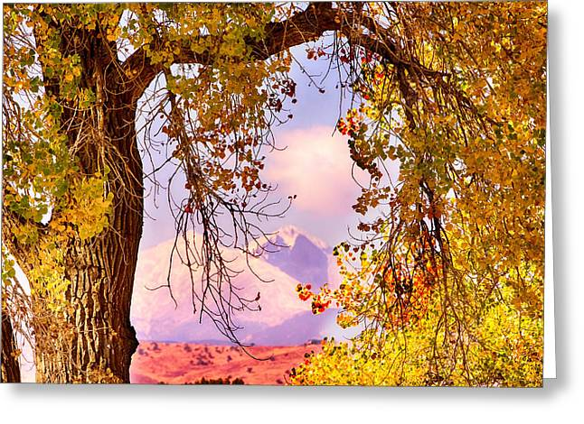 Autumn Cottonwood Twin Peaks View Greeting Card