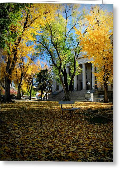 Autumn Courthouse Lawn Greeting Card