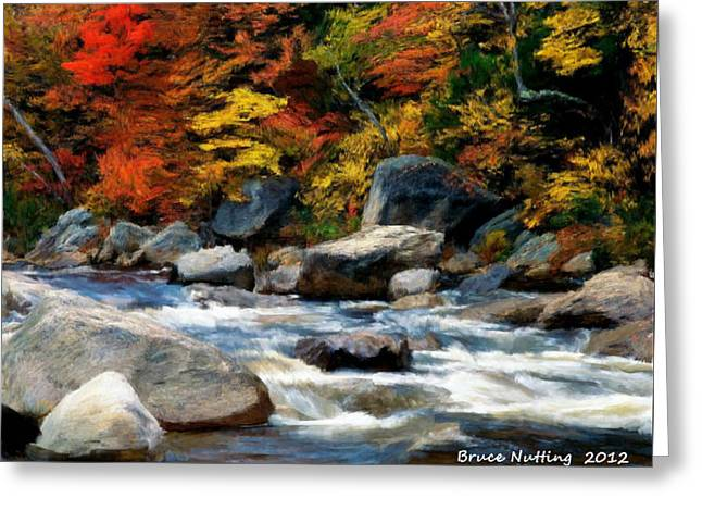 Greeting Card featuring the painting Autumn Creek by Bruce Nutting