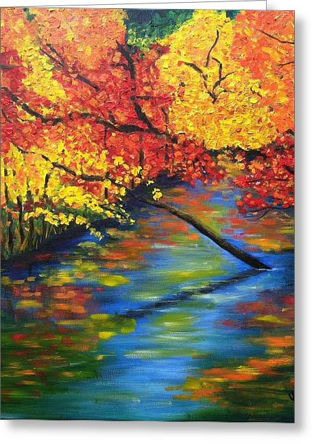 Autumn Crossing The River Greeting Card