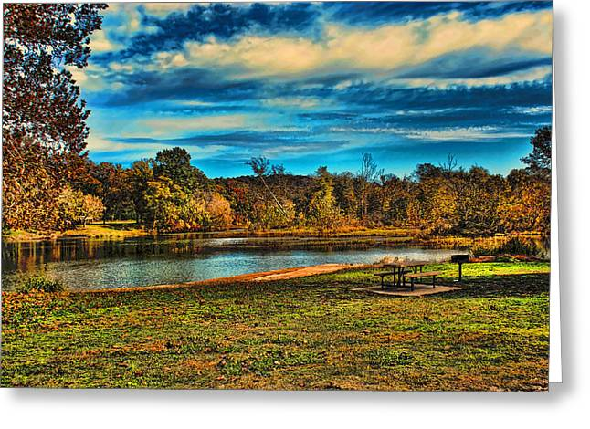 Autumn Day On The River Greeting Card