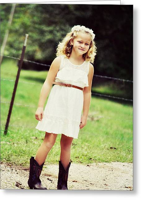 Autumn Days And Cowgirl Boots Greeting Card by Chastity Hoff