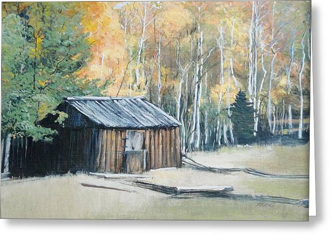 Autumn Descends On The Old Logger's Cabin Greeting Card by Terri Ana Stokes