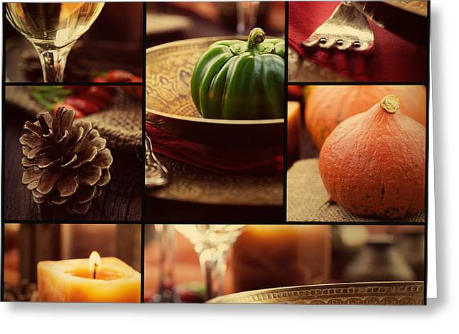 Autumn Dinner Collage Greeting Card by Mythja  Photography