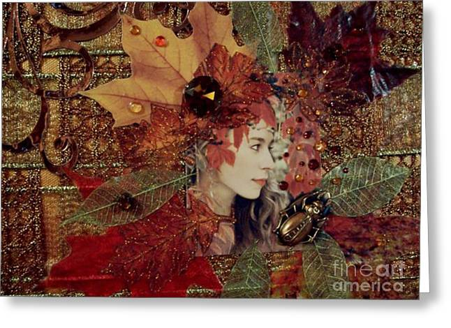 Autumn Dryad Collage Greeting Card by Maureen Tillman
