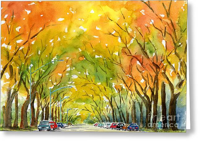 Autumn Elms Greeting Card