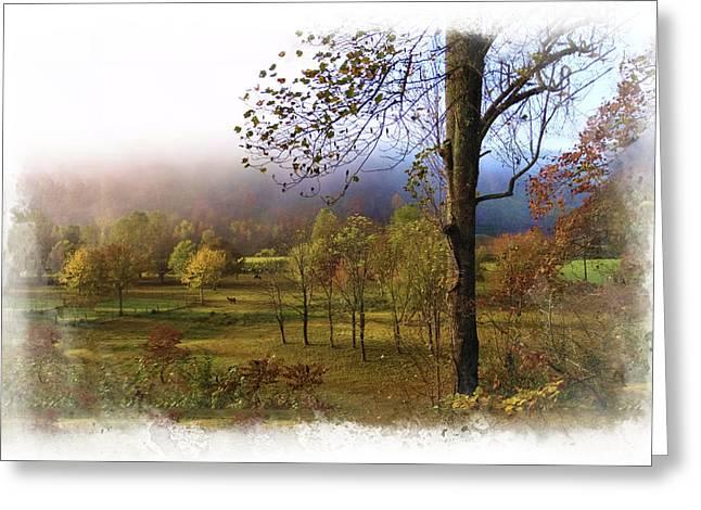 Autumn Farm Greeting Card by Debra and Dave Vanderlaan