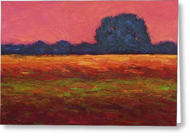 Autumn Field Dusk Greeting Card by Vernon Reinike