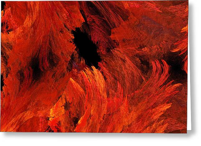 Autumn Fire Abstract Square Greeting Card