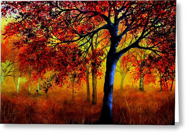 Autumn Fire Greeting Card by Ann Marie Bone