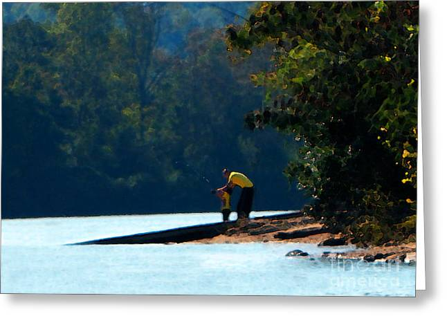 Autumn Fishing Lesson Greeting Card