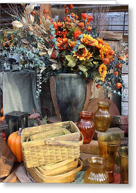 Greeting Card featuring the photograph Autumn Flowers And Baskets by Patrice Zinck