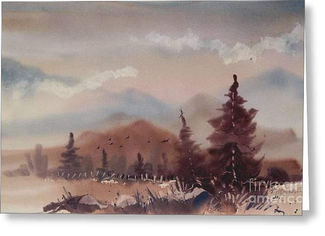 Autumn Fog Greeting Card by Micheal Jones