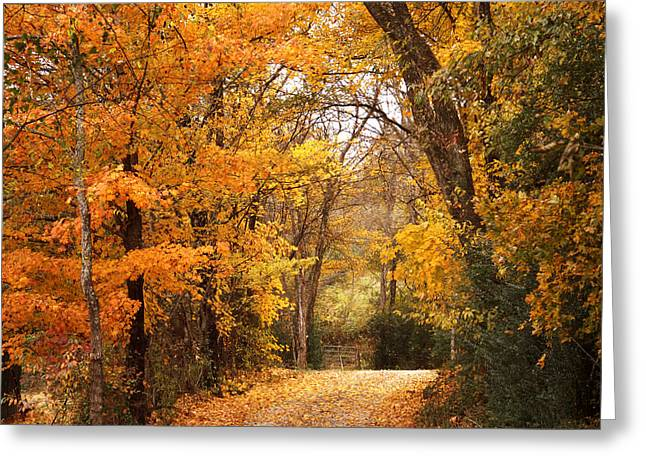 Autumn Gate Greeting Card by TnBackroadsPhotos