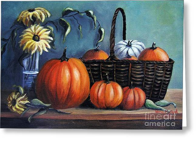 Greeting Card featuring the painting Autumn Gifts by Vesna Martinjak