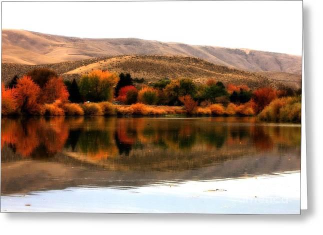 Autumn Glow On The Yakima River Greeting Card by Carol Groenen