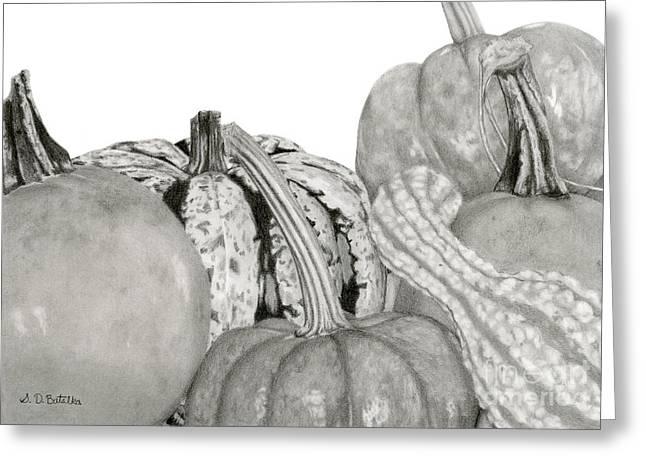 Autumn Harvest On White Greeting Card
