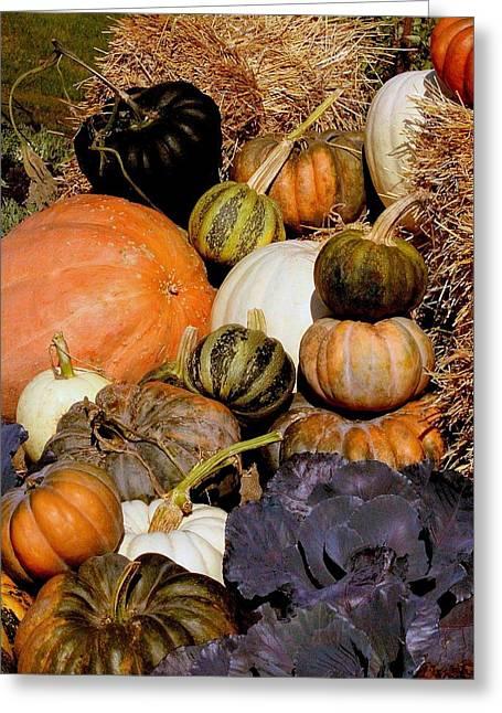 Autumn Harvest Greeting Card by Rosanne Jordan