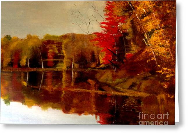 Fall Trees Reflected On Lake Greeting Card