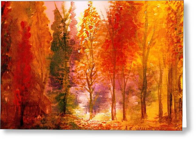 Autumn Hideaway Revisited Greeting Card by Anne-Elizabeth Whiteway