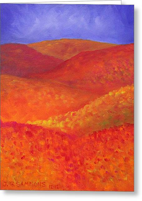 Greeting Card featuring the painting Autumn Hills by Janet Greer Sammons