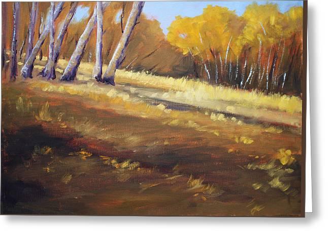 Autumn Hillside Landscape Greeting Card by Nancy Merkle